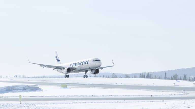 Image of Finnair aircraft in Lapland